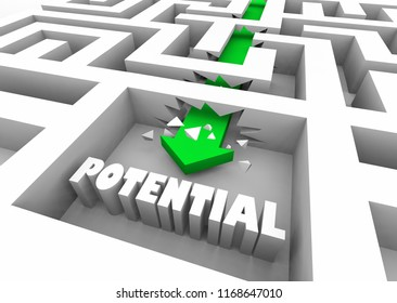 Potential Possibility Outcome Word Maze 3d Illustration