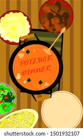 potluck poster depiciting a variety of food set up for a family dinner