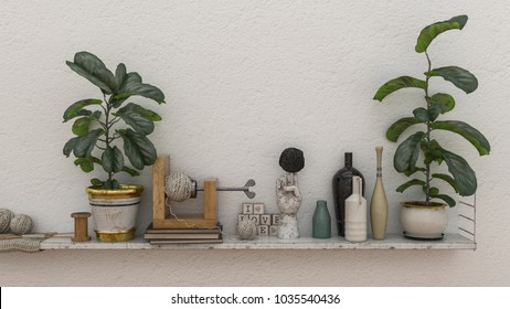 Potted plants and assorted vintage collectibles on a wall shelf against a textured white wall. 3d rendering.