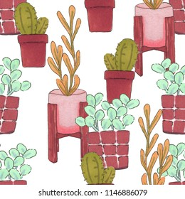 Potted plants on white background. Seamless pattern hand-drawn cactus and plants.
