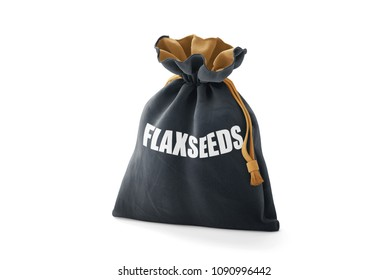 Pouch packed fresh and healthy flaxseeds on isolated background with realistic drop shadow. Title and label written on pack. 3D rendering