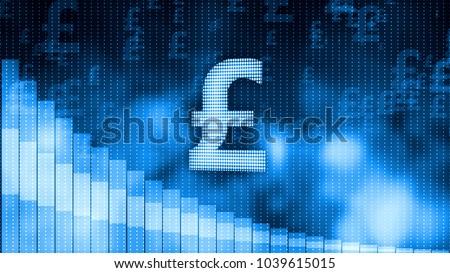 pound falling descending graph background world stock illustration