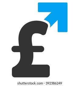 Pound Growth raster icon. Pound Growth icon symbol. Pound Growth icon image. Pound Growth icon picture. Pound Growth pictogram. Flat pound growth icon. Isolated pound growth icon graphic.