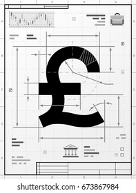 Pound sterling symbol as technical drawing. Stylized drafting of money sign with title block. Best illustration about banking, financial industry, economy, business, accounting, etc