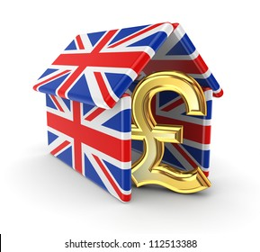 Pound sterling under the roof made of british flags.