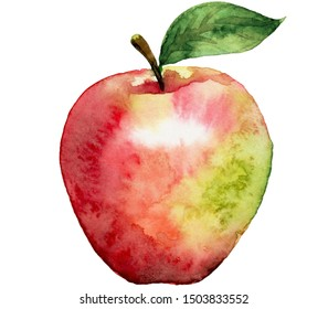 A pouring apple red-green color. Watercolor.