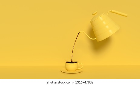 Pouring black coffee out of the kettle yellow pastel color. Minimal idea concept, 3d render.