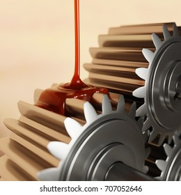 Pouring Lubricant on Gears Closeup 3d Illustration