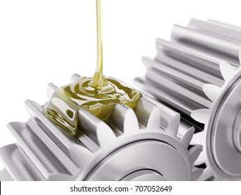 Pouring Lubricant on Gearwheel Closeup 3d Illustration on White Background