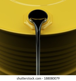 Pouring oil from yellow drum