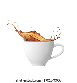 Pouring and splash coffee in white cup, Isolated on white background with clipping path, 3d rendering.