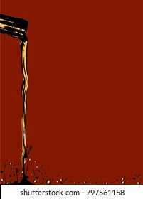 Pouring wine as musical notes over a dark red background