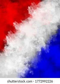 Powder or smoke explosion of the American and French Flag colors