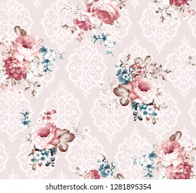 powdered damask pattern with pink roses blue flowers