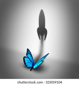 Power aspiration business concept and determined motivation symbol as a blue butterfly casting a shadow shaped as a rocket blasting off as a success potential metaphor.