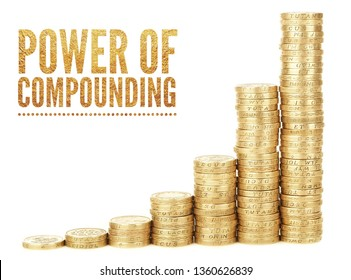 """""""Power of compounding"""" text written on 7 rows of coins arranged in ascending order background. Growth concept."""