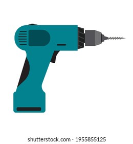 Power drill tool electric equipment isolated white icon illustration. Repair instrument power drill tool handle icon. Construction device machine manual instrument builder sign hardware