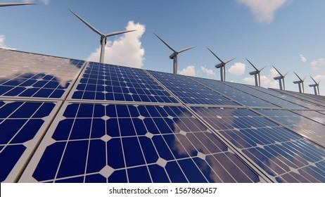 Power generation by wind turbines and solar panels, 3D Rendering