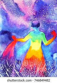 power up human, watercolor painting, chakra reiki abstract powerful world, universe inside your mind