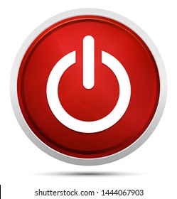 Power icon isolated on Promo Red Round Button