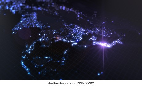 power of japan, energy beam on tokyo. dark map with illuminated cities and human population density areas. suitable for technology, future, politics and science themes. 3d illustration
