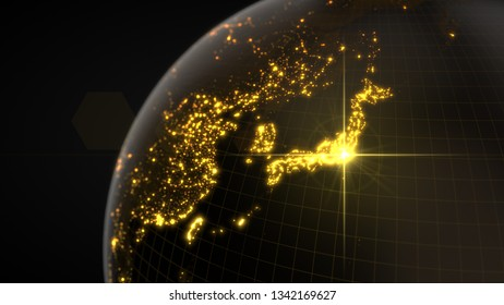 power of japan, energy beam on tokyo. dark globe with illuminated cities and human density areas. suitable for technology, future, politics and science themes. 3d illustration