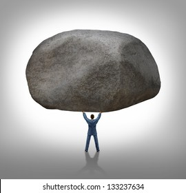 Power of leadership with the ability to inspire as a businessman lifting up a huge boulder removing a large obstacle and leading by example as a business concept of success and determination.