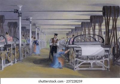 Power loom weaving in a cotton mill in Lancashire England ca 1835 Engraving with modern watercolor.