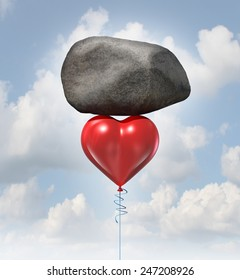 Power of love metaphor or heavy heart challenge concept as a red balloon shaped as the symbol for romance and relationships lifting up a huge rock.