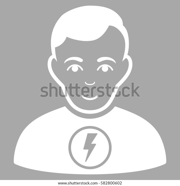 Power Man glyph icon. Flat white symbol. Pictogram is isolated on a silver background. Designed for web and software interfaces.