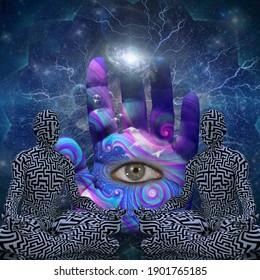 Le pouvoir de la méditation. Un homme en pose de lotus. Rendu 3D