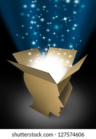 Power of the mind as powerful intelligence with an open box in the shape of a human head illuminated with a glowing beaming light bursting with sparkles as a symbol of human creativity and potential.