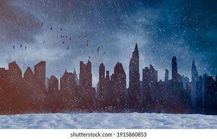 Stromausfall in dunkler Stadt und Schneesturm