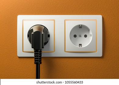 Power plug into electrical socket. 3D rendering