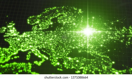 power of russia, energy beam on moscow. dark map with illuminated cities and human population density areas. suitable for technology, future, politics and science themes. 3d illustration