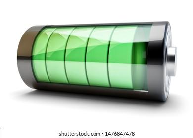 Ladekonzept der Energiequelle, Akkumulatorenbatterie mit grüner Füllstandsanzeige einzeln auf Weiß, 3D-Abbildung
