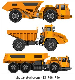 Powerful articulated dump truck. Isolated on a white background. Mechanical engineering, heavy industry, construction. Flat design.