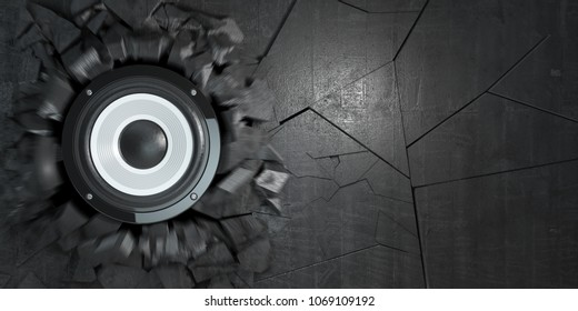 Powerful audio speakers broke concrete wall.  Explosion hole and debris. Hard rock or heavy metal energy music concept. 3d illustration
