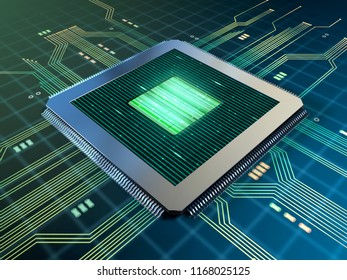 Powerful cpu on a printed circuits board. 3D illustration.