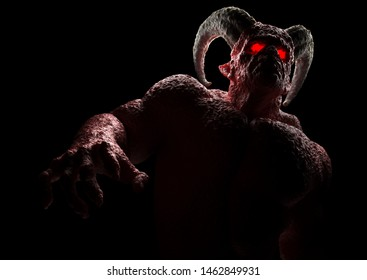 Powerful demon, devil, imp, monster with twisted horns, luminous eyes, muscle hillocks and scary skin. 3d render