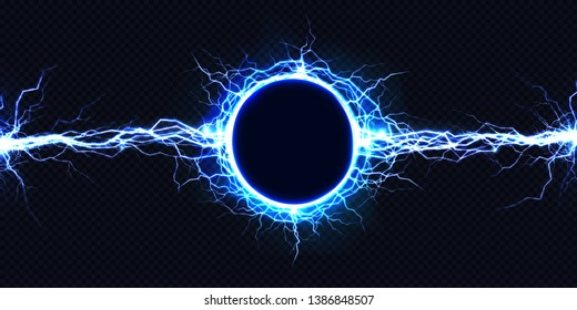 Powerful electrical round discharge hitting from side to side realistic illustration isolated on black background. Blazing lightning circle strike in darkness Electric energy flash light effect