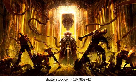 A powerful guard of the Holy Grail, with a fiery sword, expels evil spirits from the cathedral with a wave of light, zombies burn from the holy flame, sparking and crumbling to dust. 2d illustration.