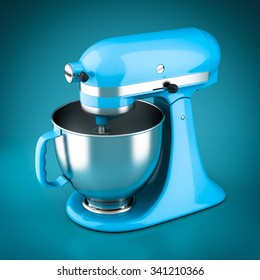 Powerful kitchen mixer on a blue background