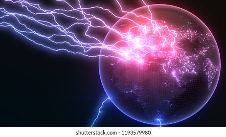 powerful lightning strikes on earths europa side and makes cracks on surface of sphere. Suitable for any future, technology and energy themes. 3d illustration