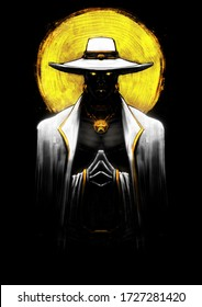 A powerful male sorcerer in a white suit and hat, standing with his hands clasped at his chest, his eyes shining gold, behind him a bright yellow sun . 2D illustration