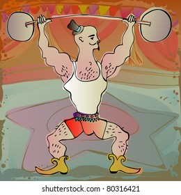 powerful man performing on a circus stage - for vector version see image no. 80078482