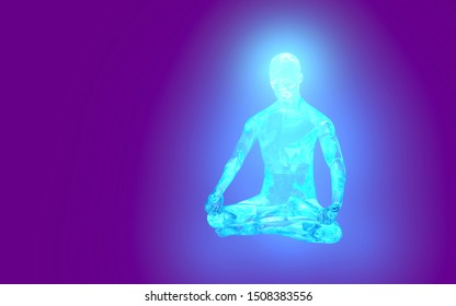 powerful radiation energy of a meditating person