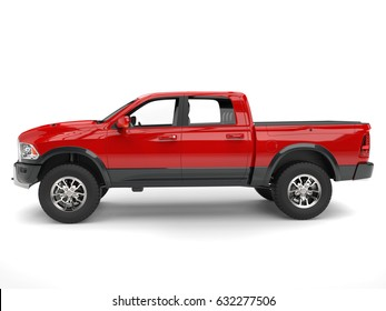 Powerful red modern pick-up truck - side view - 3D Illustration