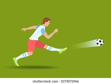 Powerful Soccer Shot. The football player kicked on a ball. Raster version.