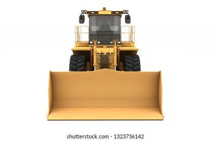 Powerful yellow hydraulic wheel bulldozer isolated on white. 3D illustration. Front view. Eye level.